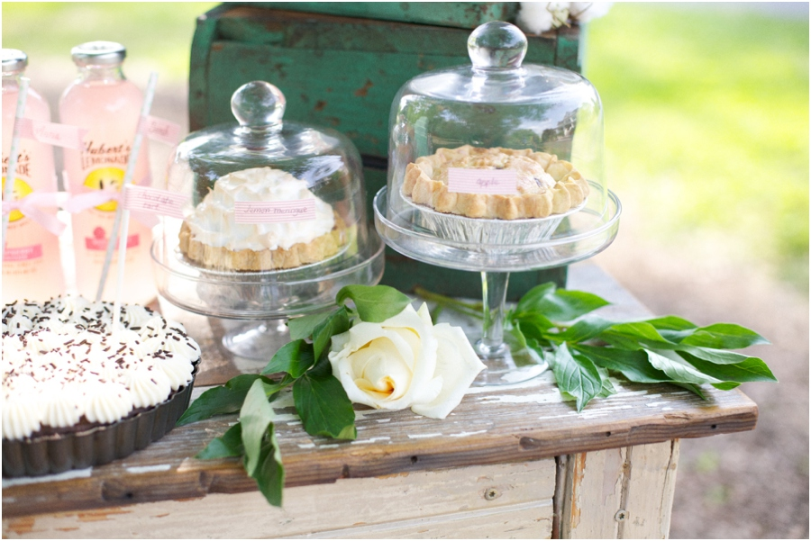 assorted pies at southern bridal luncheon, vintage wedding photographers