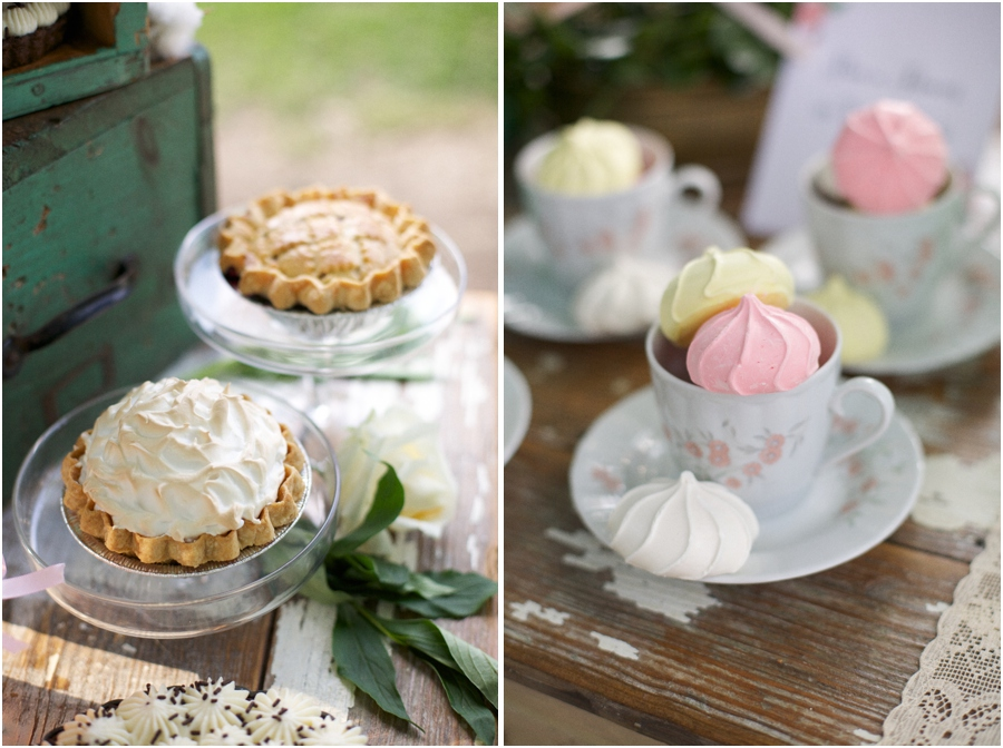 assorted mini pies at vintage bridal luncheon, pink and yellow meringues in vintage china teacups, southern wedding photographers