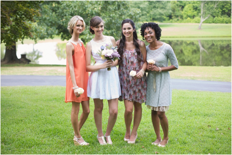 summer wedding photography, southern bridesmaids, vintage bridal luncheon