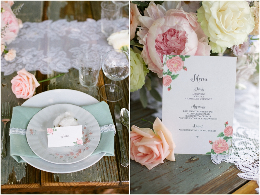 a cotton ball on each plate holding place cards, southern wedding color schemes, coral, sage green, blush pink, garden party-style stationary from Crafty Pie Press