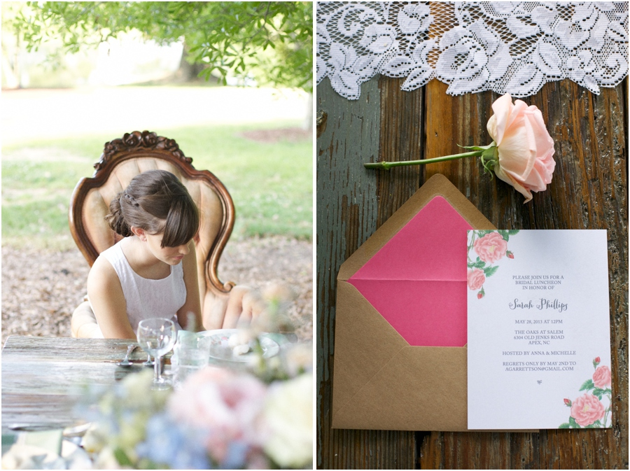 bride at southern bridal luncheon,  pretty invites from Crafty Pie Press