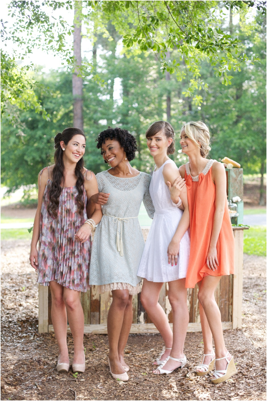 southern bridesmaids in lovely dresses from Peachy Keen, summer bridal photography, vintage wedding photographers