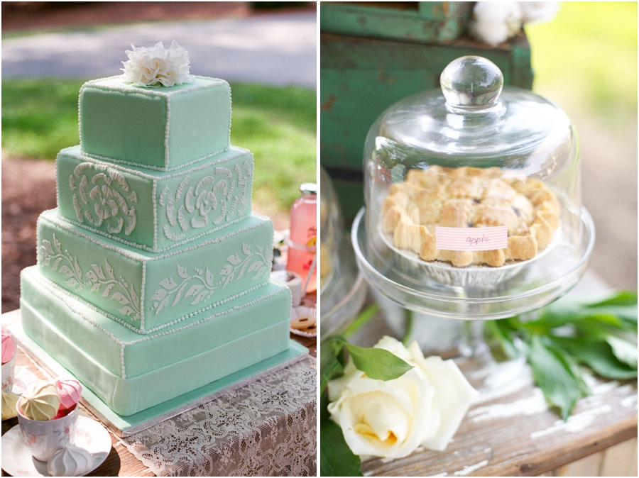 mint and cream wedding cake from Linacucina, yummy apple pie at southern bridal luncheon, vintage wedding photographers