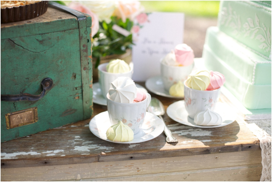 colorful meringues in vintage china teacups, vintage wedding photography, rustic bridal photographers