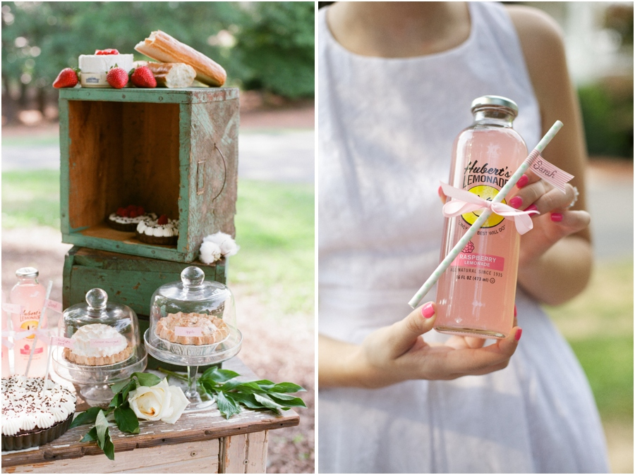 summer wedding reception inspiration, assorted pies and yummy appetizers, bride holding bottle of pink lemonade with a minty green polka dot paper straw