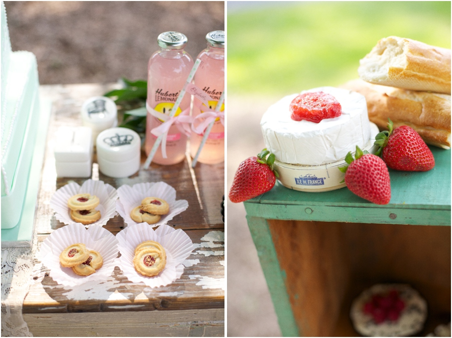 yummy treats in cupcake lines, southern reception inspiration, brie with strawberry jam, vintage bridal luncheon