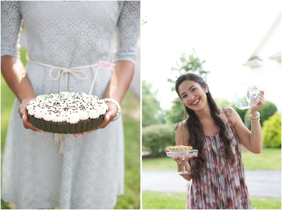 chocolate tart pie from ABC Pie Company, southern bridesmaids, summer wedding photography