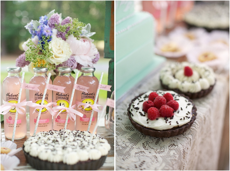 minty polka dot straws tied to each bottle of lemonade with ribbon and festooned with a personalized washi tape flag, chocolate and fruit pies at southern reception, summer bridal photography