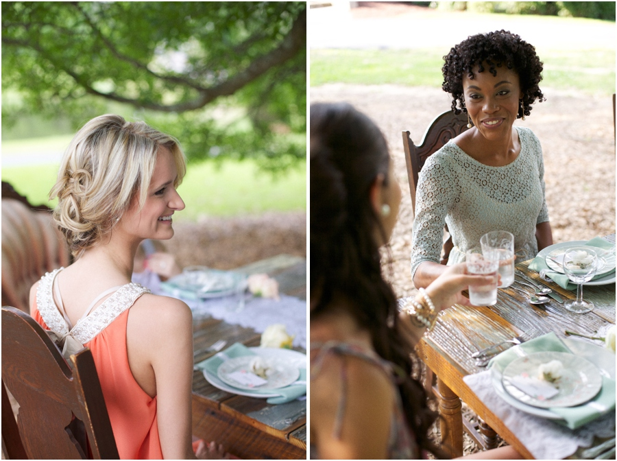 bridesmaids at southern bridal luncheon, bridesmaid in beautiful lace dress, vintage wedding photographers