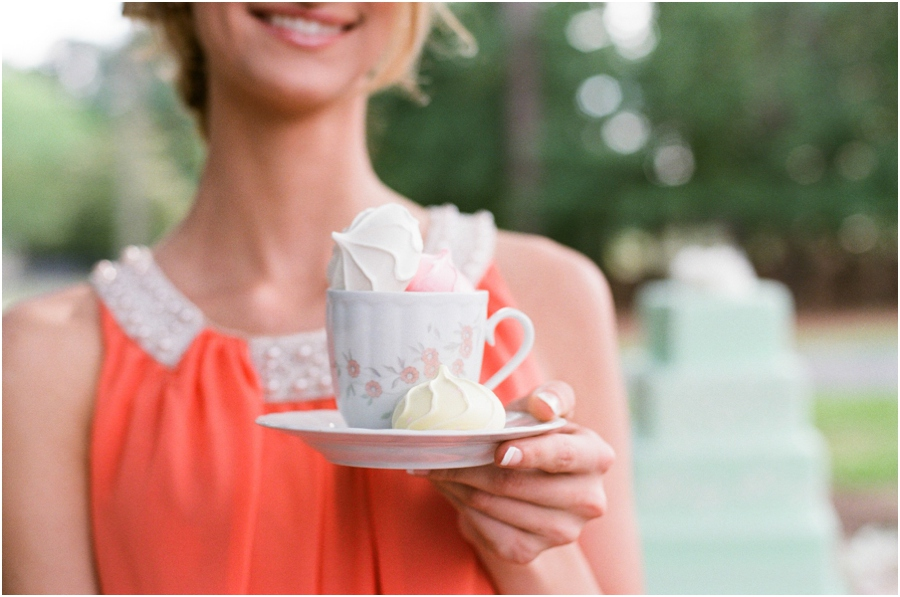 colorful meringues in vintage tea cup, southern editorial photography