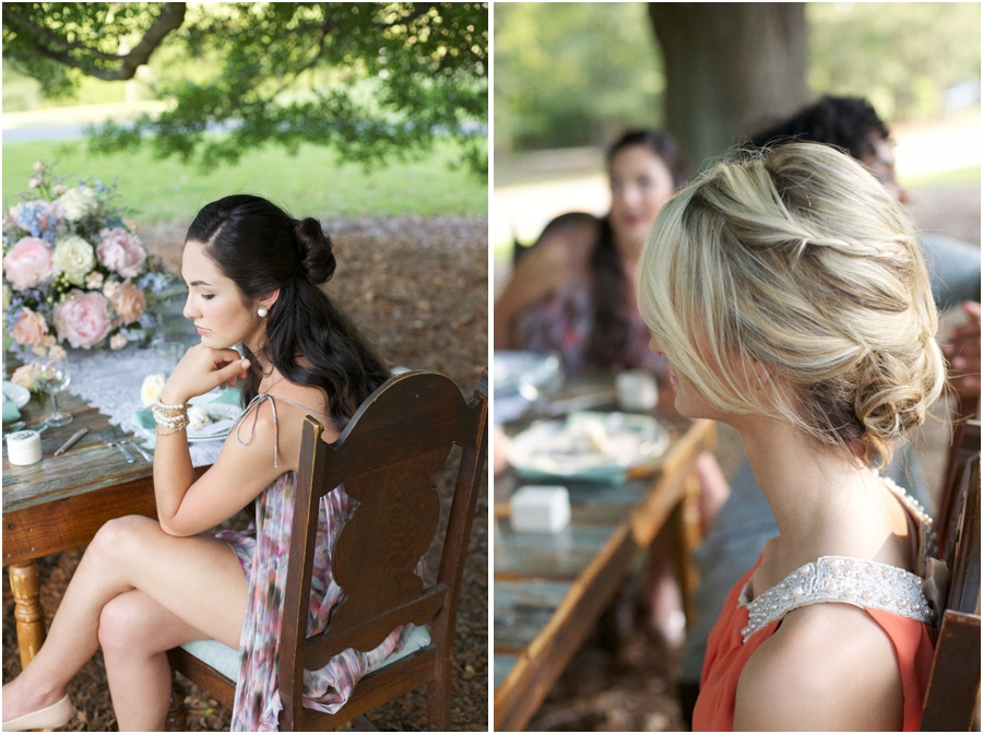 summer wedding photography, bridesmaid hairstyles, southern bridal photography