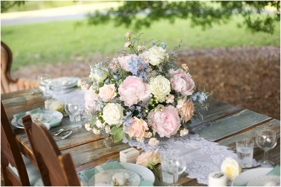 beautiful fresh floral centerpiece from Embellished Blooms, southern bridal photography