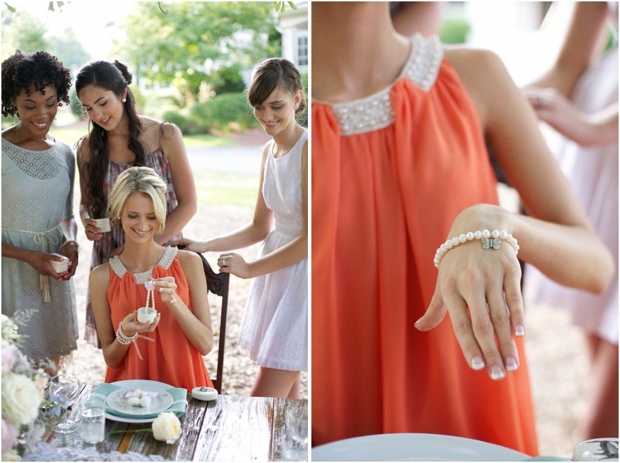 cute spin on traditional southern charm pull cake, handmade pearl bracelets with charms and their meanings attached cleverly hidden in vintage style trinket boxes, southern bridal tradition, vintage wedding photographers