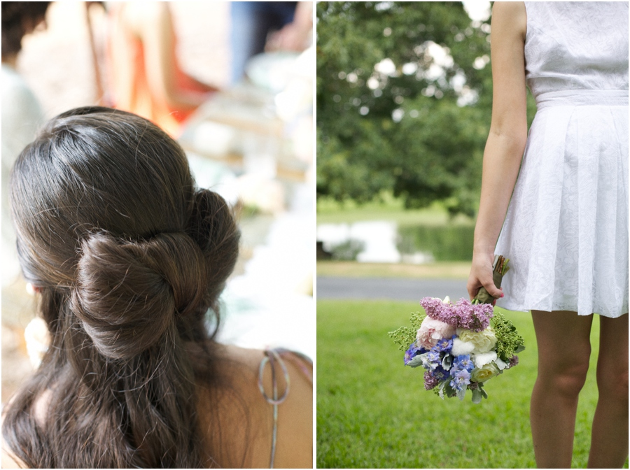 long bridesmaid hairstyles, hair bow, southern bridal photography
