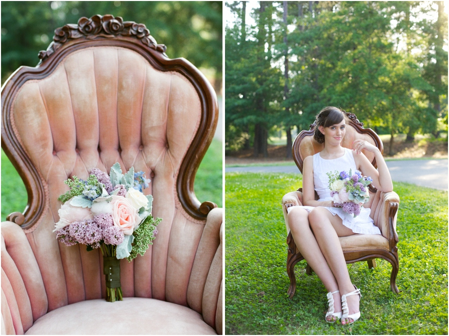 southern bridal bouquet with lilacs, roses, peonies, and puffs of cotton, editorial wedding photography, raleigh nc