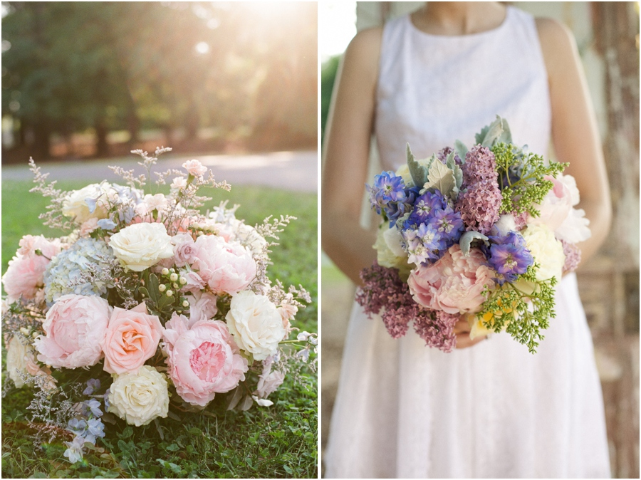 lush floral arrangement of peach and cream roses and pink peonies, beautiful bridal bouquet of lilacs, roses, peonies, and puffs of cotton from Embellished Blooms