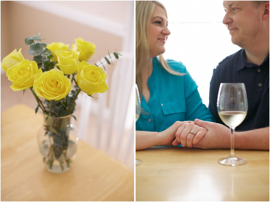 yellow roses in a glass vase, romantic couple's photography