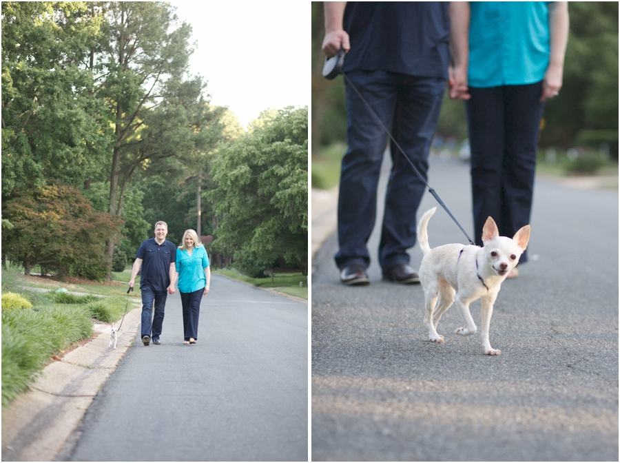 couple walking their little chihuahua, southern engagement photographers