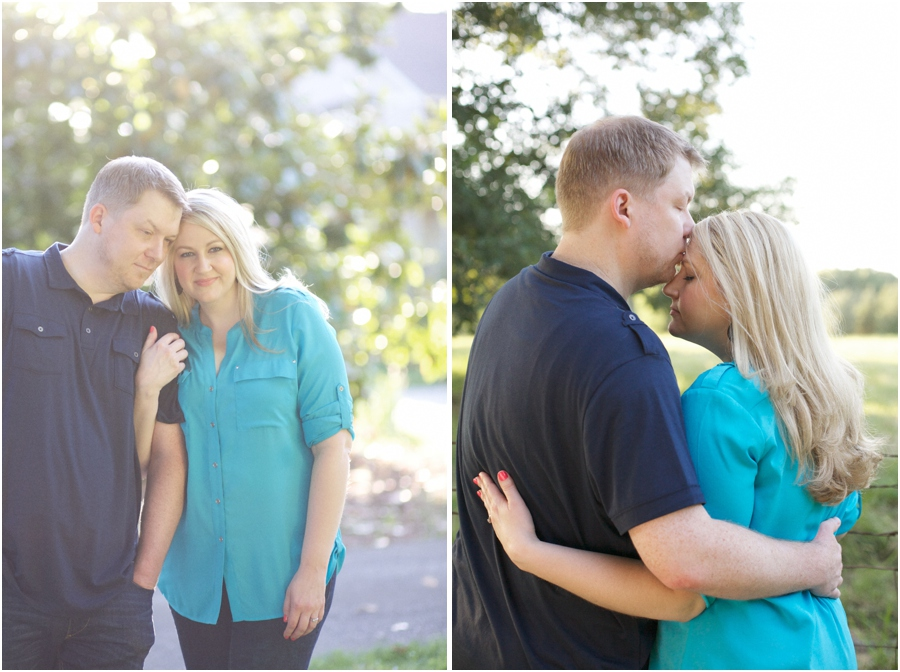 intimate engagement photography, romantic forehead kiss, summer engagement photographers