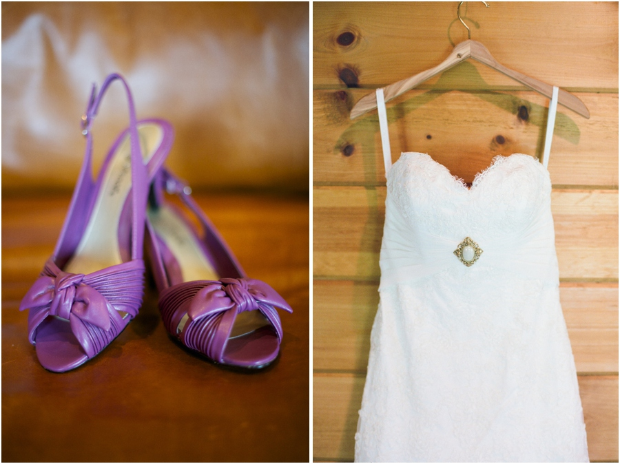 bride's purple high heels, wedding dress from Bridal Mart