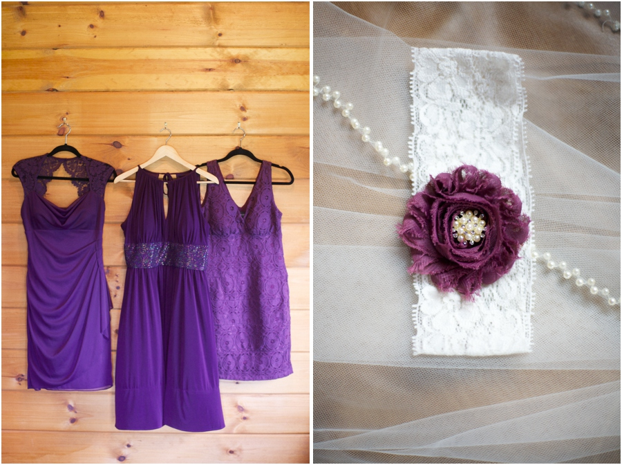 assorted purple bridesmaids dresses, brides lace garter with purple fabric flower