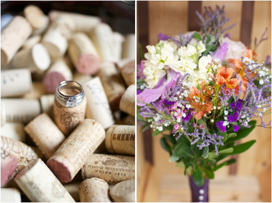 ring shots for wine lovers, purple cream and orange bridal bouquet