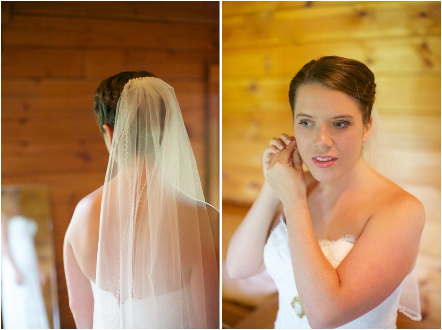 rustic wedding photography, bride getting ready