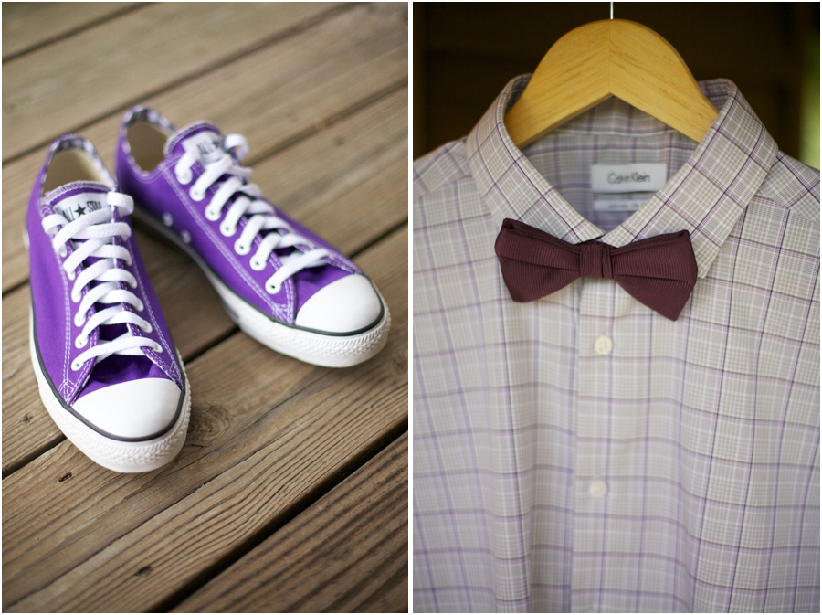 groom's purple converse shoes, groom's plaid shirt and bow tie from Belk