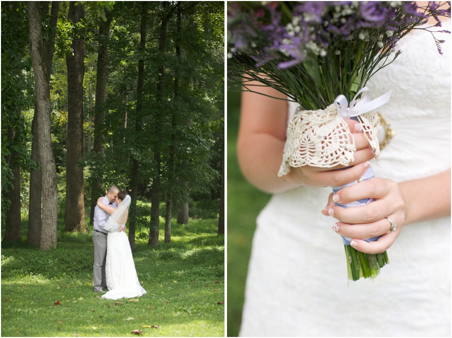 rustic wedding photography, fresh bridal bouquet incorporating an heirloom doily