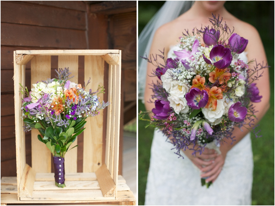 rustic wedding decor, purple cream and orange bridal bouquets, southern wedding photographer, raleigh nc