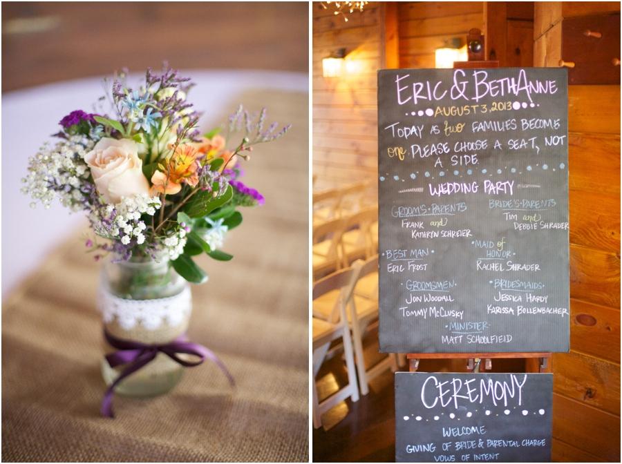 fresh floral centerpieces at wedding reception, chalkboard program at wedding, rustic wedding photography