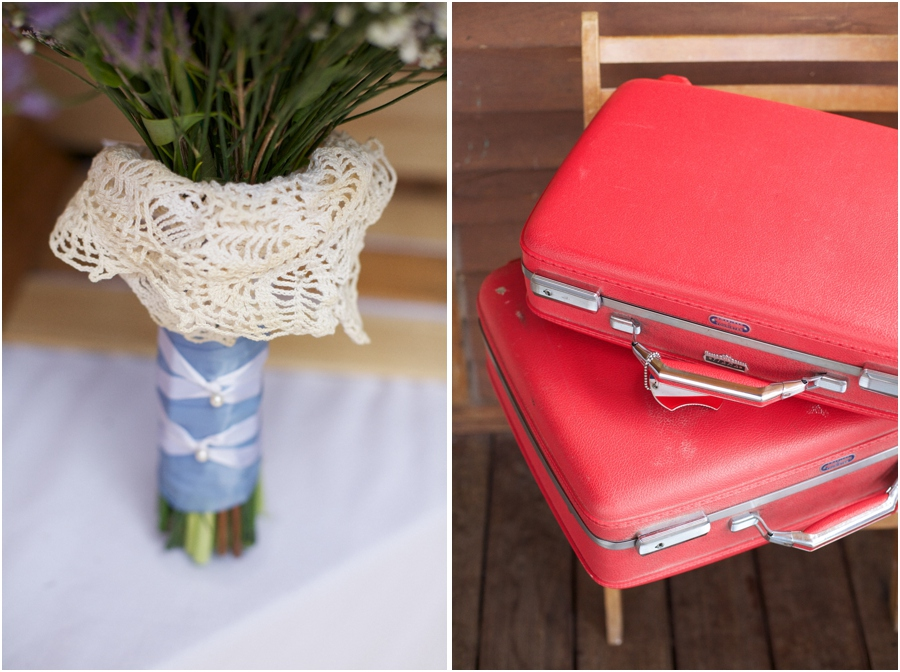 bridal bouquet incorporating heirloom dolly, vintage red suitcases, southern wedding photography