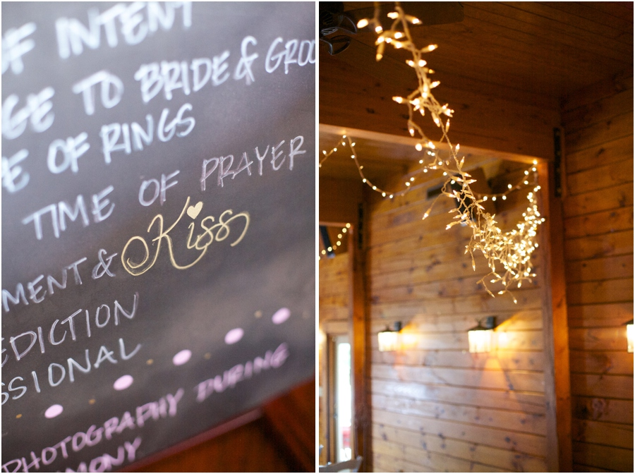 chalkboard wedding program, stringed lights decor at barn wedding