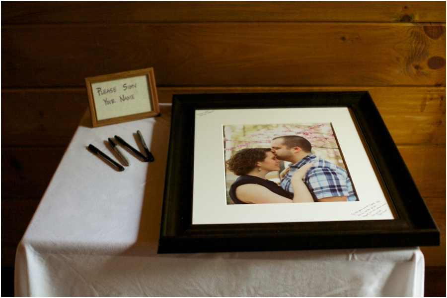 unique guest book ideas, guests write notes to the bride and groom around a picture of the couple