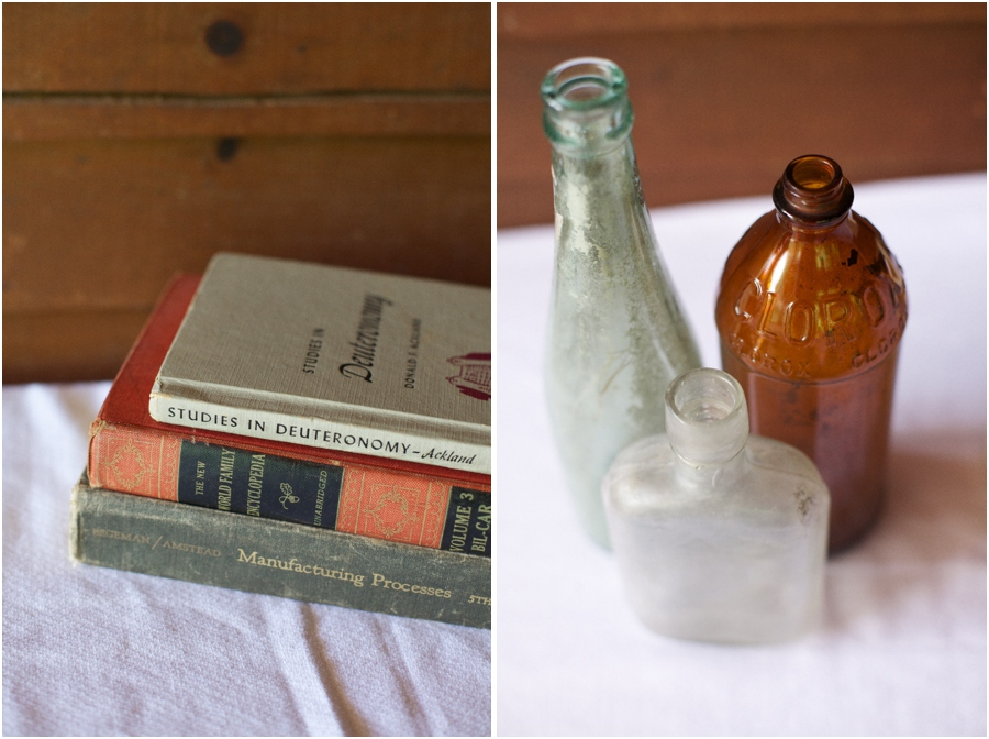 rustic wedding decor, couple's favorite books, vintage bottles