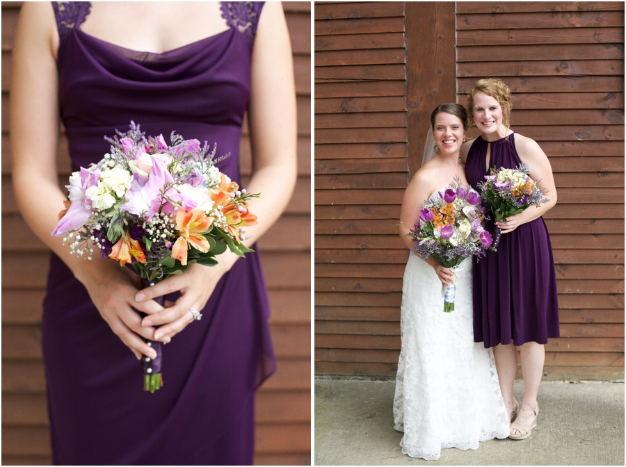 bridesmaid in purple gown, barn wedding photography, raleigh nc
