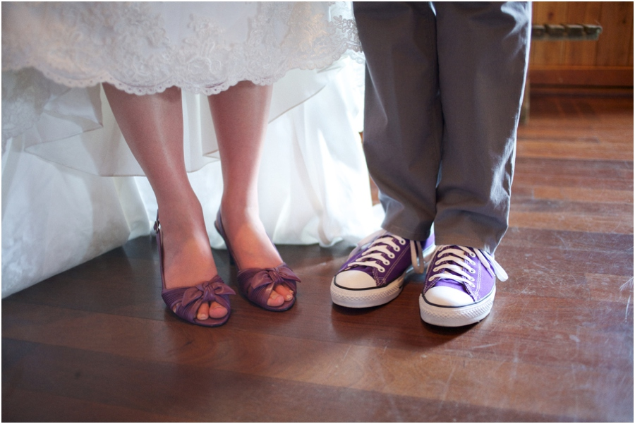 bride and groom wearing purple shoes, rustic wedding photography