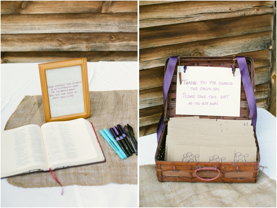 unique guest book idea, guests highlight a favorite verse in the Bible and put their name and a note for the couple beside it, discs filled with favorite songs made for personal favors for guests to take home