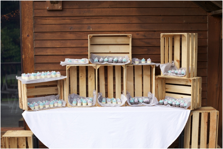 traditional wedding cake alternatives, little monogrammed cupcakes from Gigi's Cupcakes, rustic barn wedding photography