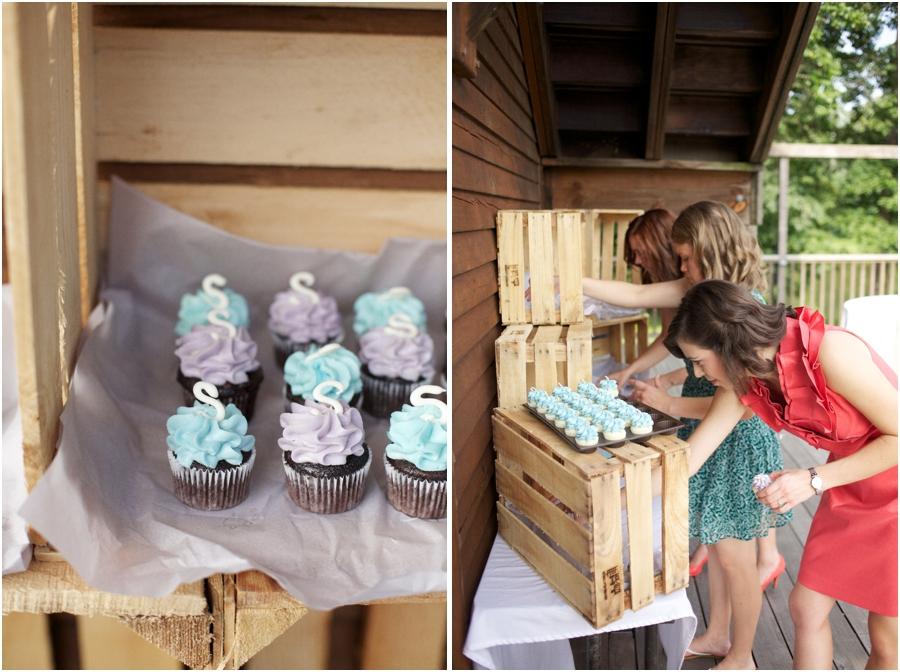 little monogrammed cupcakes from Gigi's Cupcakes, rustic barn wedding photography