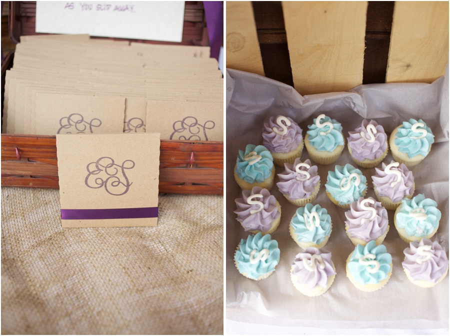 wedding favor inspiration, discs with couple's favorite songs, purple and light blue monogrammed cupcakes