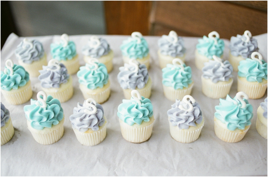purple and light blue monogrammed cupcakes from Gigi's Cupcakes