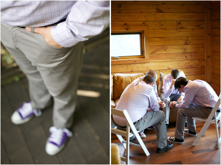 groom wearing purple converse shoes, groomsmen praying before the ceremony