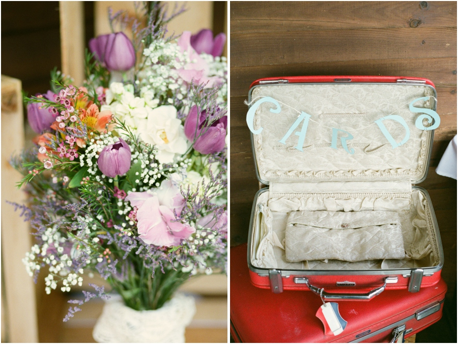 fresh floral centerpiece at wedding reception, vintage wedding decor, vintage suitcase for cards