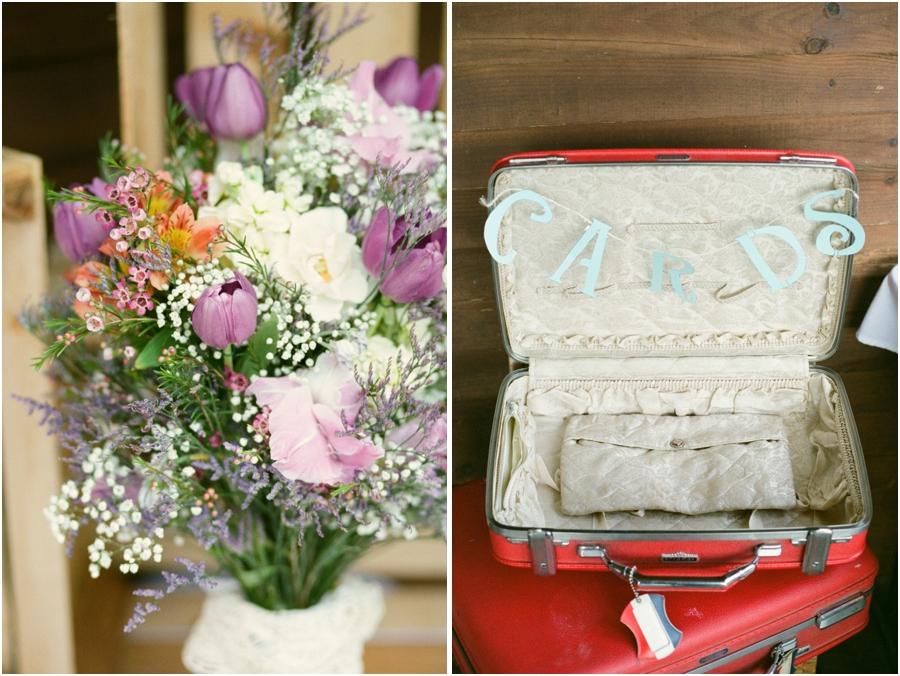 fresh floral centerpiece at wedding reception, vintage wedding decor, vintage suitcase for cards