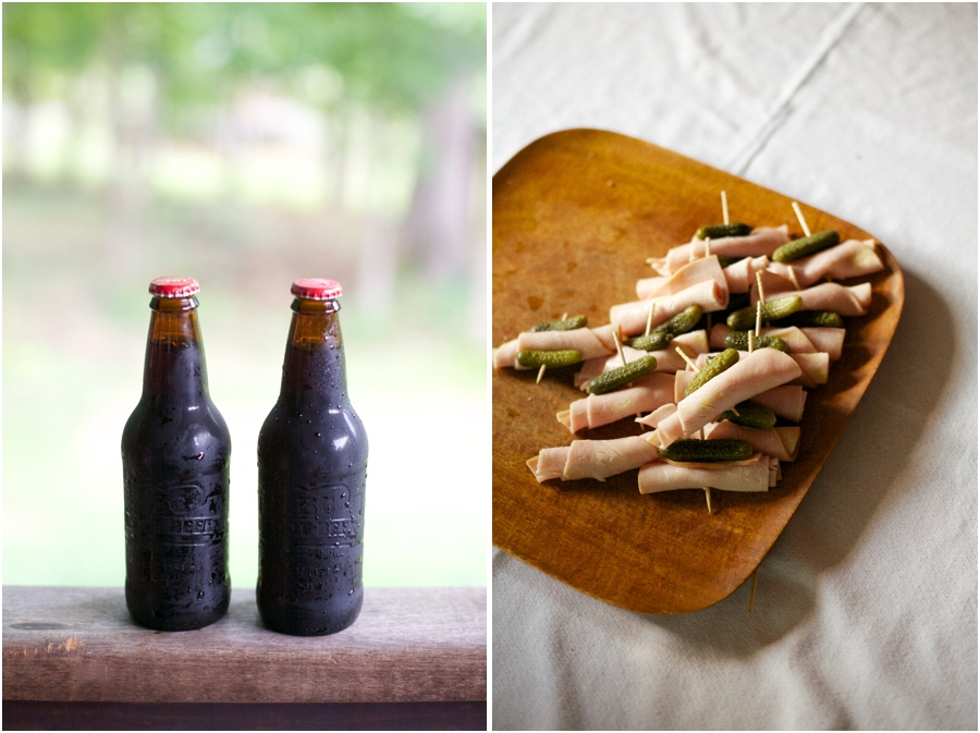 cold root beer for wedding reception refreshments, pickles and meat appetizers