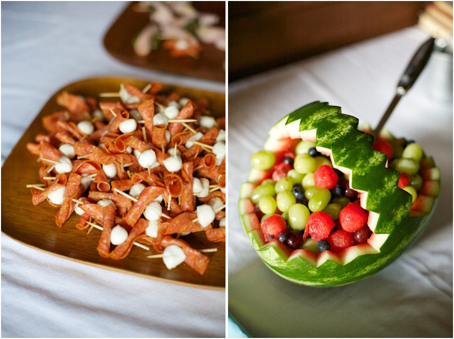 colorful appetizers at wedding reception, southern wedding photography, raleigh nc