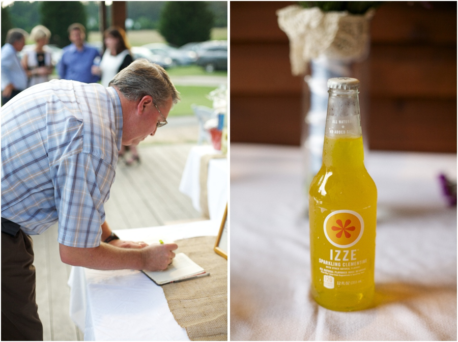 guests signing guestbook, bottled soda at wedding reception, southern wedding photography