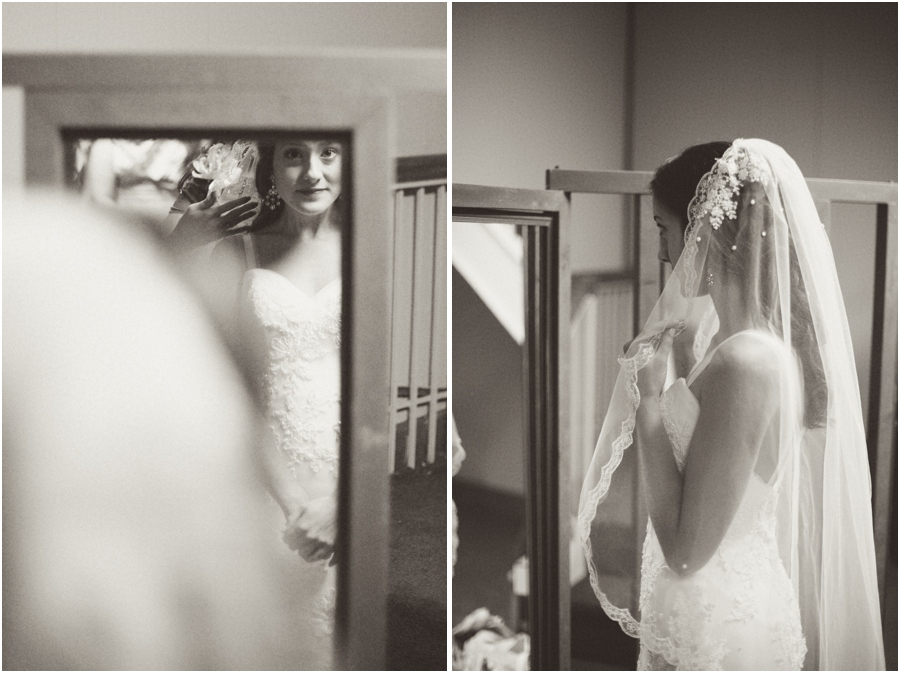 bride getting ready, mirror bride, bride wearing beautiful heirloom veil