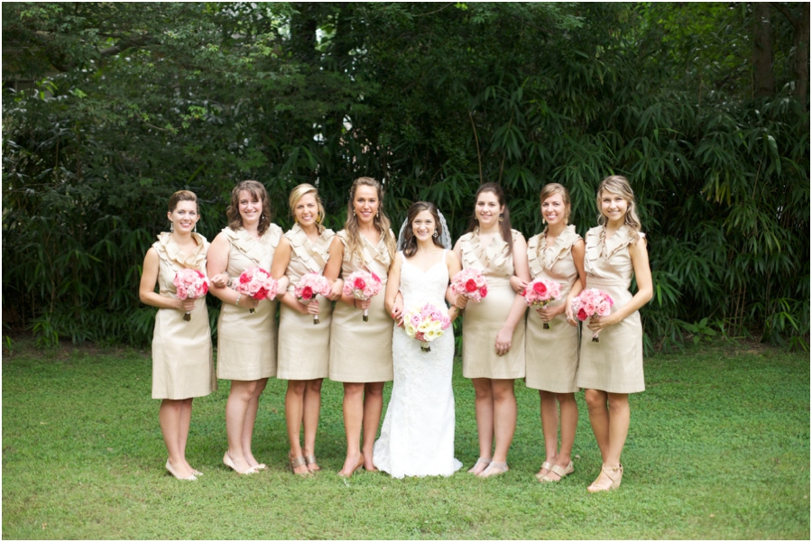 bridal party color schemes, tan and pink wedding colors, southern wedding photography